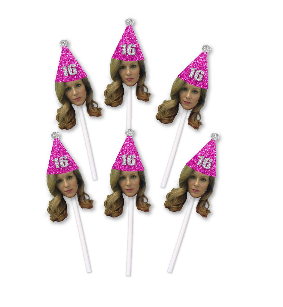 16th Birthday Cupcake Toppers with Face and Birthday hat