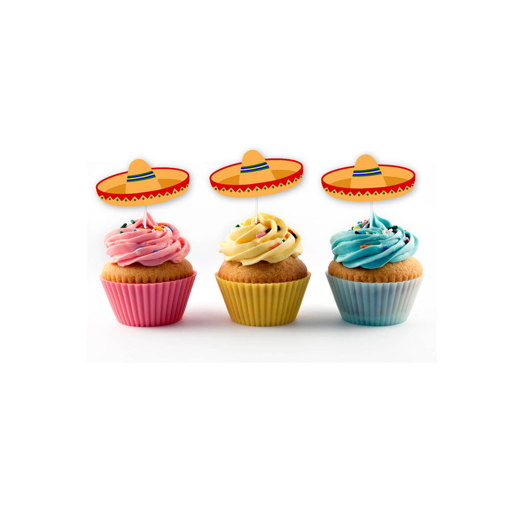 Orange sombrero cupcake topper