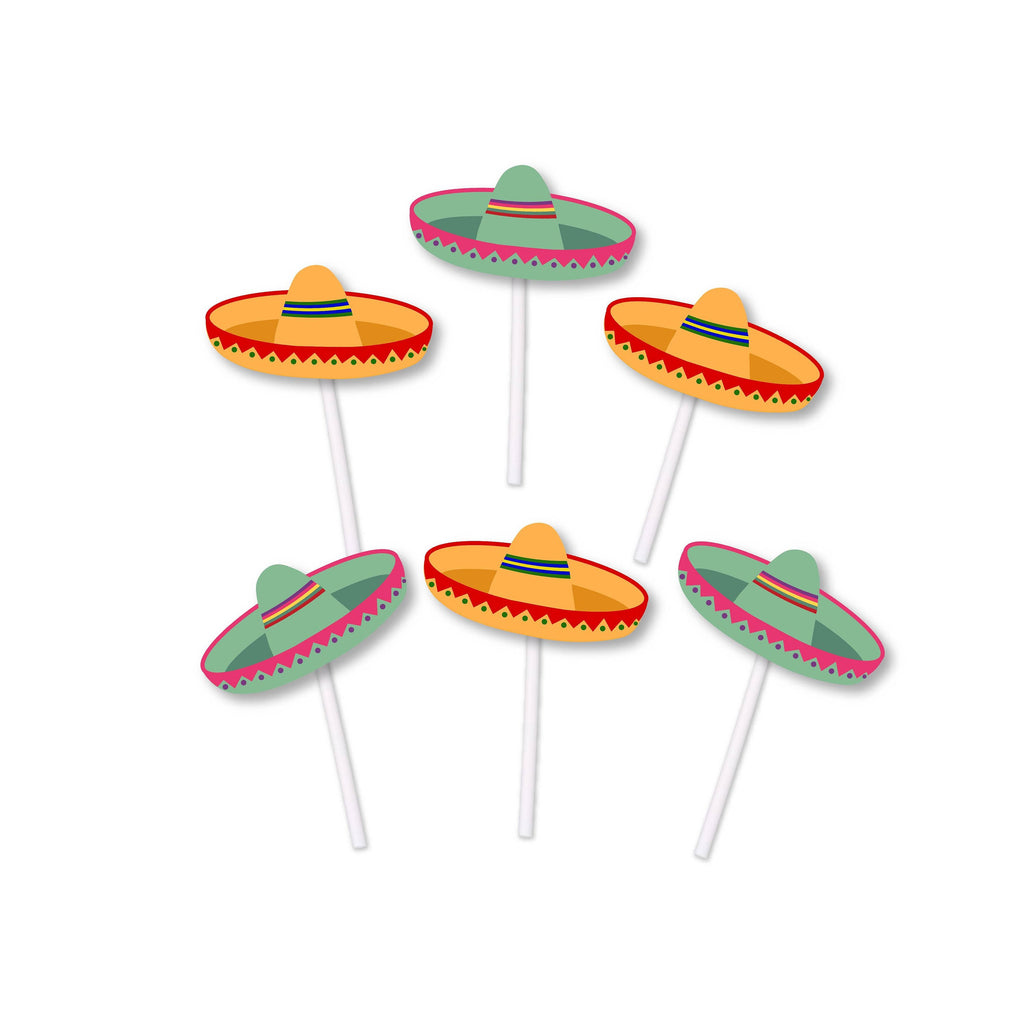 Orange and Green Sombrero cupcake toppers