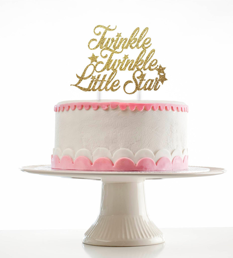 Twinkle Twinkle Little Star Glitter Cake Topper for Baby Shower or Birthday Party - Gold Glitter or Silver Glitter