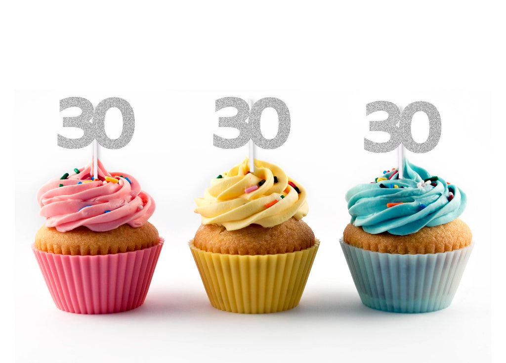 30th Birthday Glitter Cupcake Toppers (12 count)