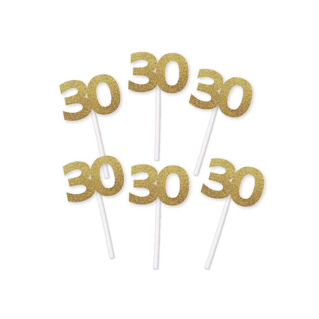 30th Birthday gold Glitter Cupcake Toppers (12 count)