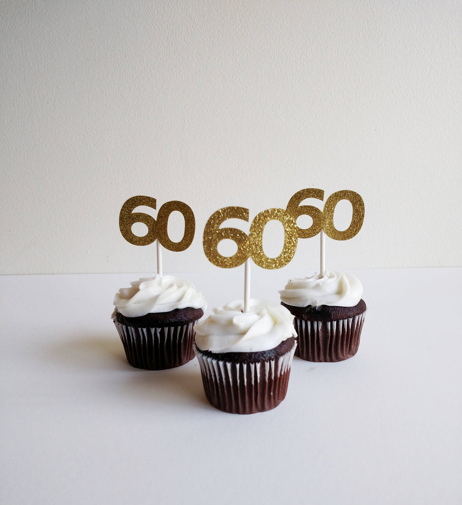 60th Birthday Cupcake Toppers in Gold Glitter