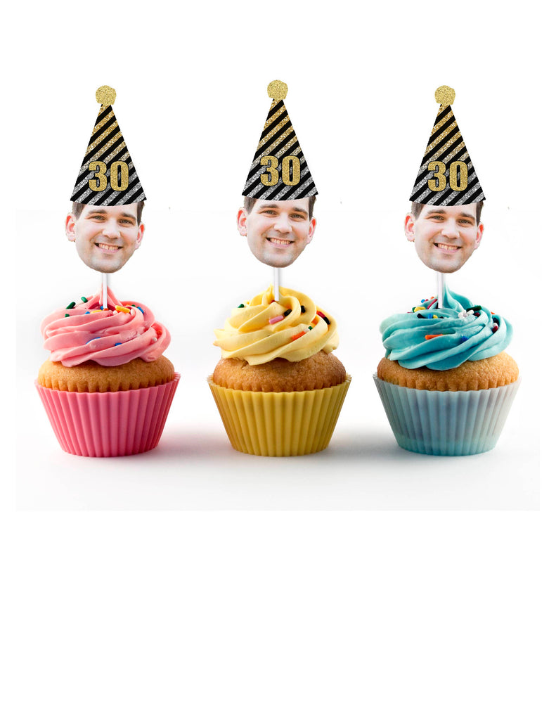 Black, Gold and Silver Birthday Party Face Cupcake Toppers