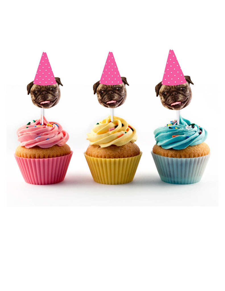 Polka dot birthday hat cupcake toppers with dog face