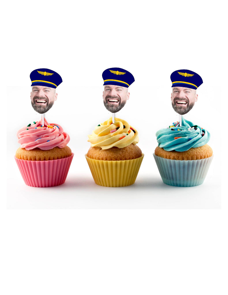 Pilot Cupcake Toppers with Custom Face Photo (12 count) - Pilot, Birthday Decorations, Retirement Party, Personalized