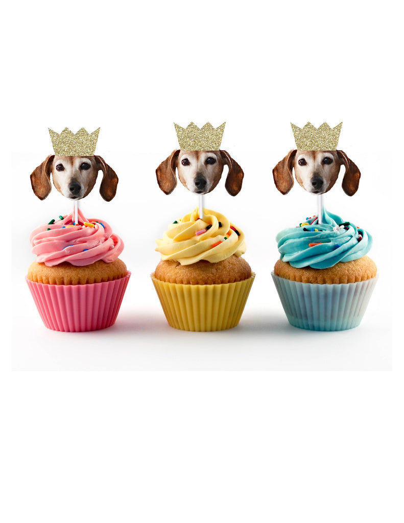 Pet birthday party cupcake toppers