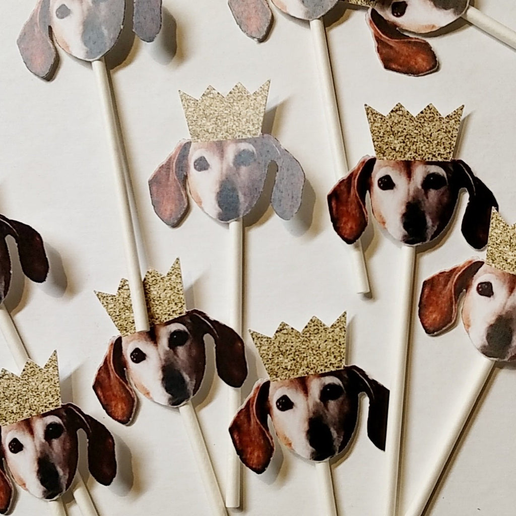 Dog Birthday Cupcake Toppers with Face, funny party decorations
