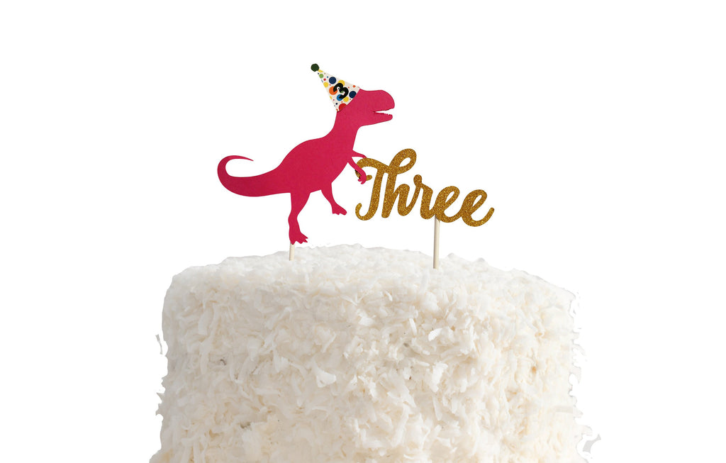 3rd birthday pink cake topper
