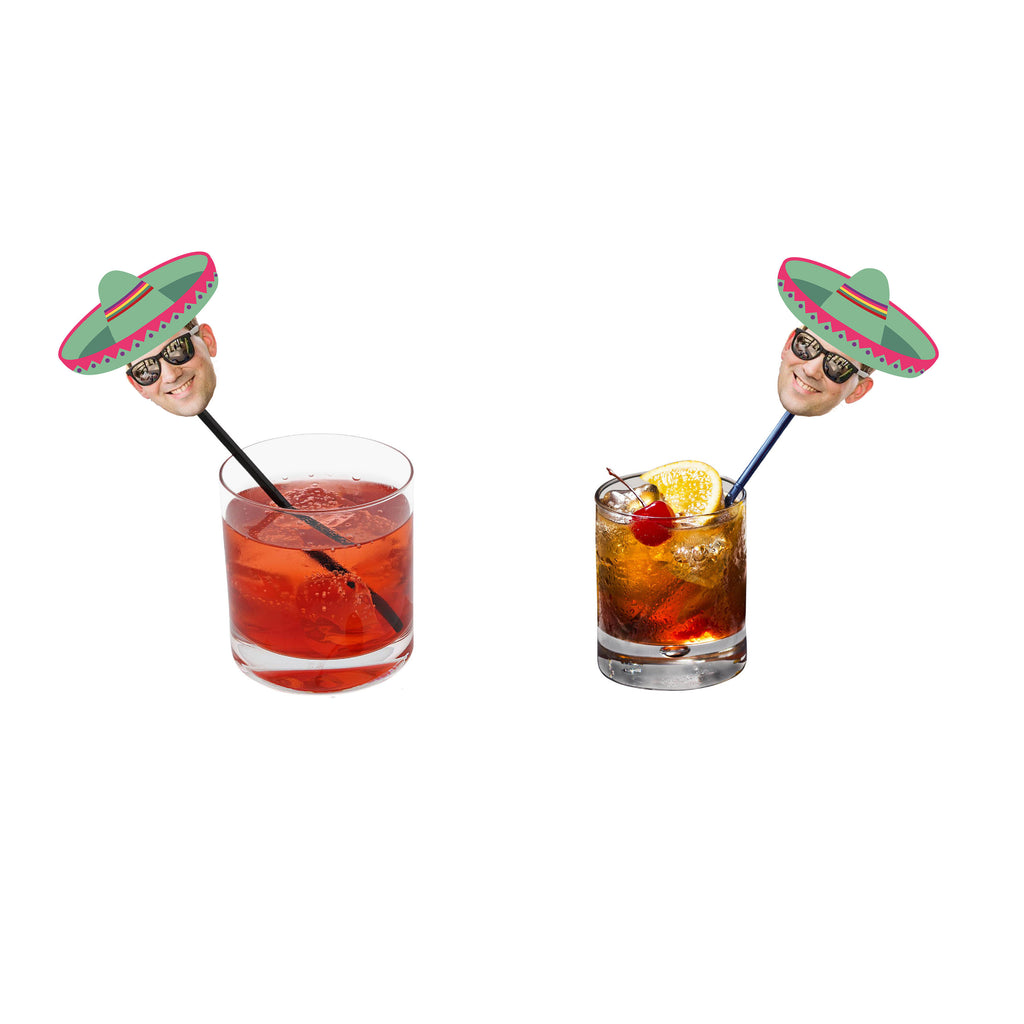 Fiesta drink stirrers with face and green sombrero for taco party