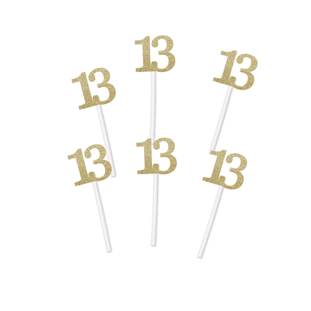 13th Birthday Glitter Cupcake Toppers (12 count) for Birthday, Anniversary or Retirement Party in Gold, Blue, Pink, Black, or Silver Glitter