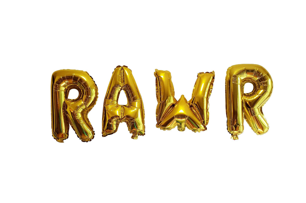 "RAWR Balloons for Dinosaur Birthday Party, 14"" Foil Balloons, First Birthday, 1st Bday, T-rex, 2nd, 3rd,"