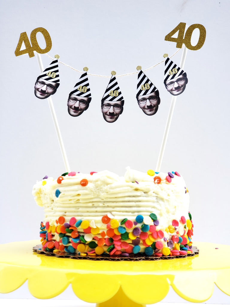 40th Birthday Cake Garland with Face and Birthday Hat, Banner, Bunting, Fortieth, Gold, Custom Picture Party Decorations