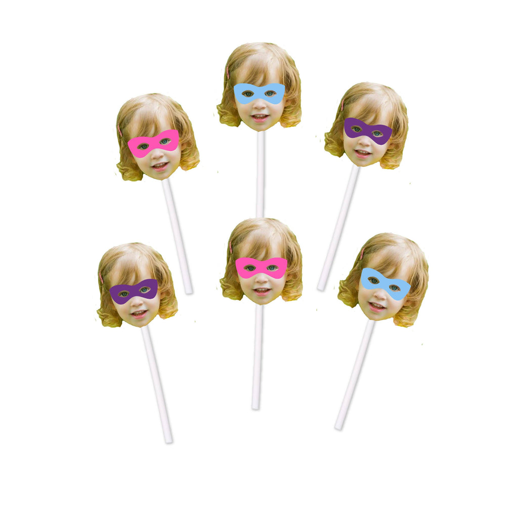 Girl Superhero Cupcake Toppers with Face for Birthday Party, Super, Hero, Party Decorations, Cake, Wow, BOOM, Pink, Girly, Blue, Purple