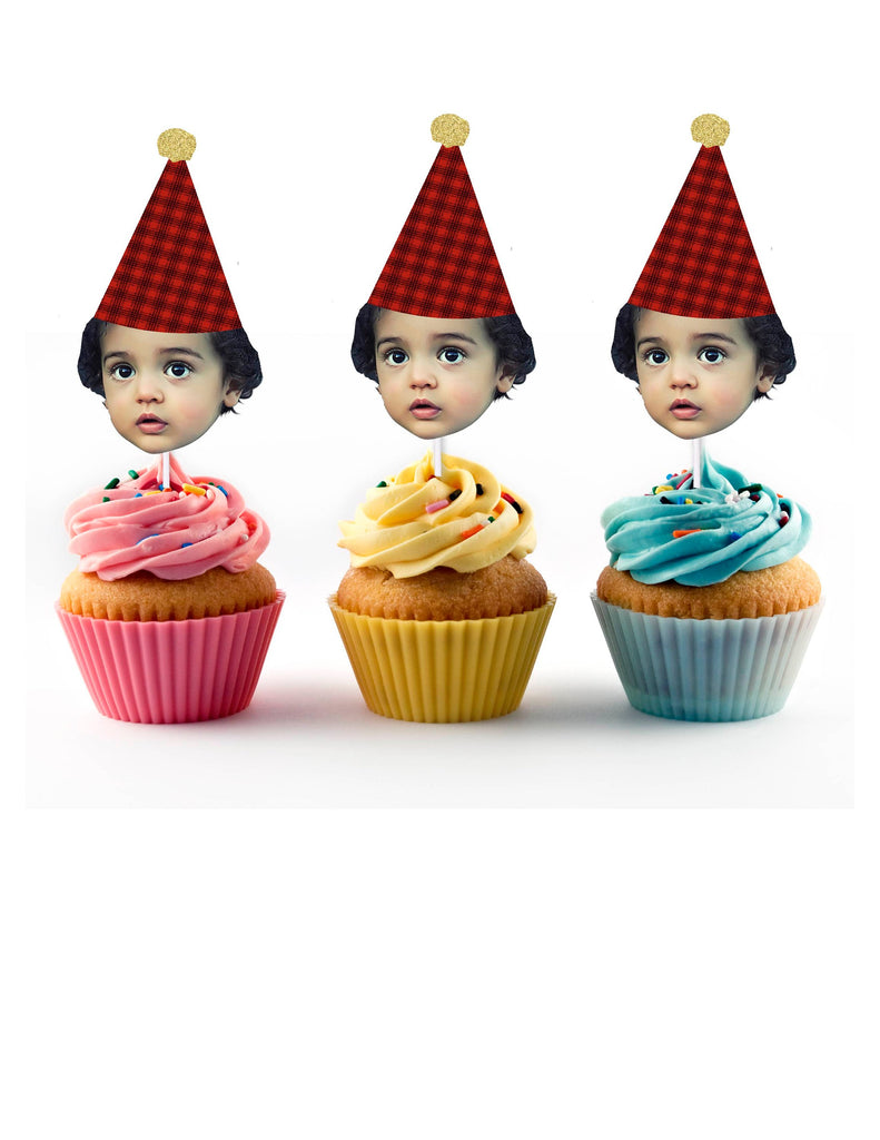 Lumberjack Birthday Cupcake Toppers with Face and Birthday Hat (12 Count), Custom, Personalized, Camping, Red, Plaid, Black, 1st, 30th