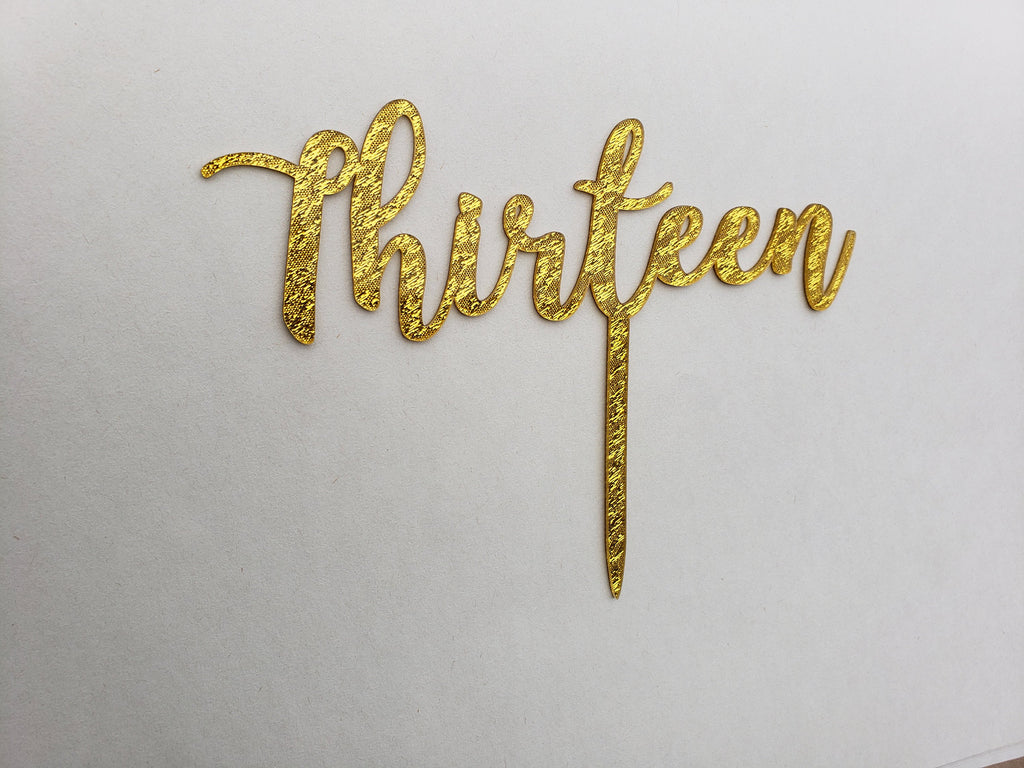 13th Birthday Acrylic Cake Topper in Gold Glitter - for Thirteenth Birthday Party, Decorations, Gold Cloth Glitter, Plastic, Teenager