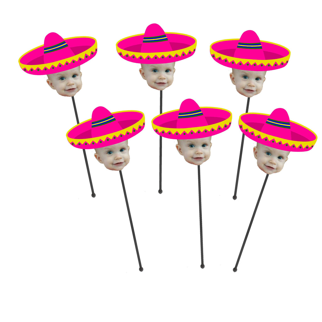 Sombrero Drink Stirrers with Face and Hat (12 count), Swizzle Sticks - Let's Fiesta, Taco Bout a Party Themed Event, Pink, Green Orange