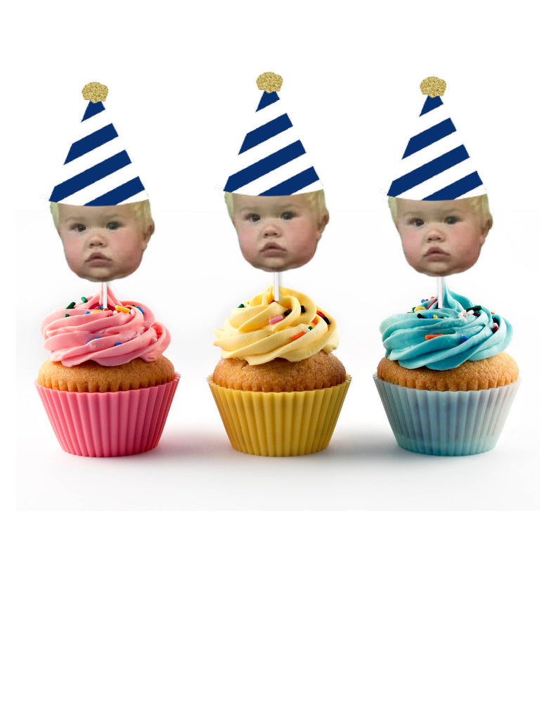 Blue and white party decorations, cupcake toppers with face