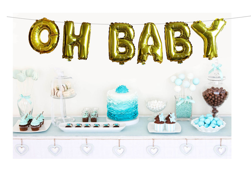 "Oh Baby Balloons 16"" Foil Banner for Baby Shower, It's a Boy, It's a Girl, Gold or Silver, Garland, Bunting, Party Decorations"