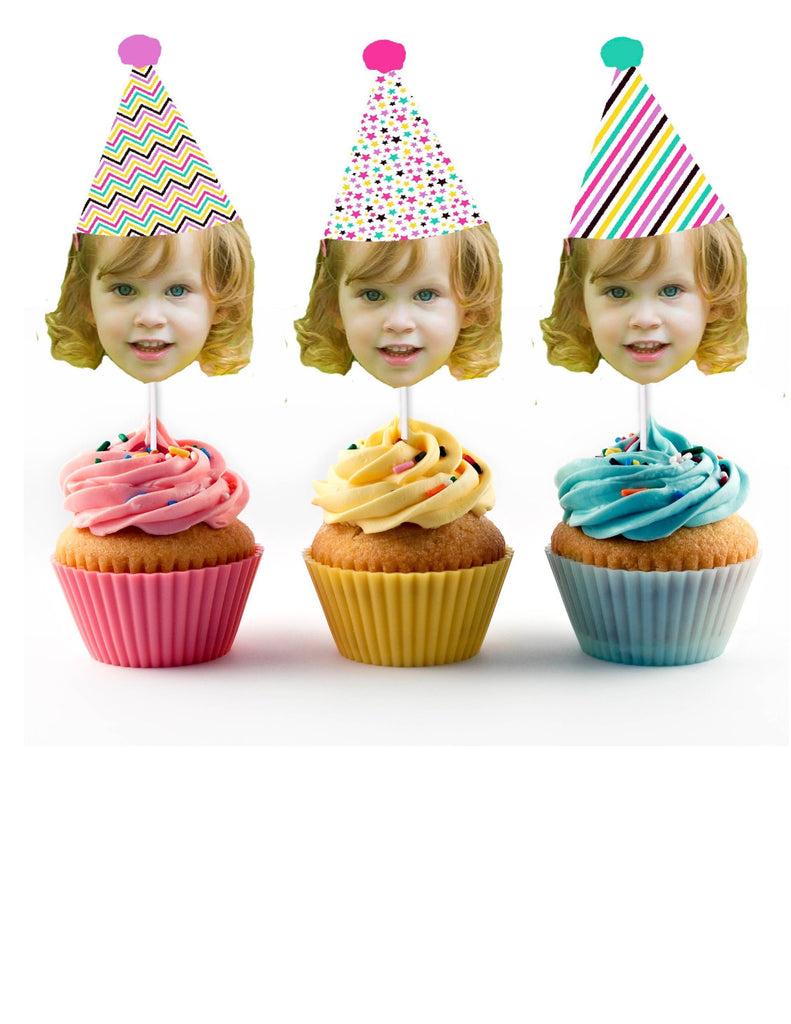 Birthday Cupcake Toppers with Face - Colorful, Mint, Pink, Purple, Yellow Stars, Personalized, Funny (12 Cupcake Toppers per order)