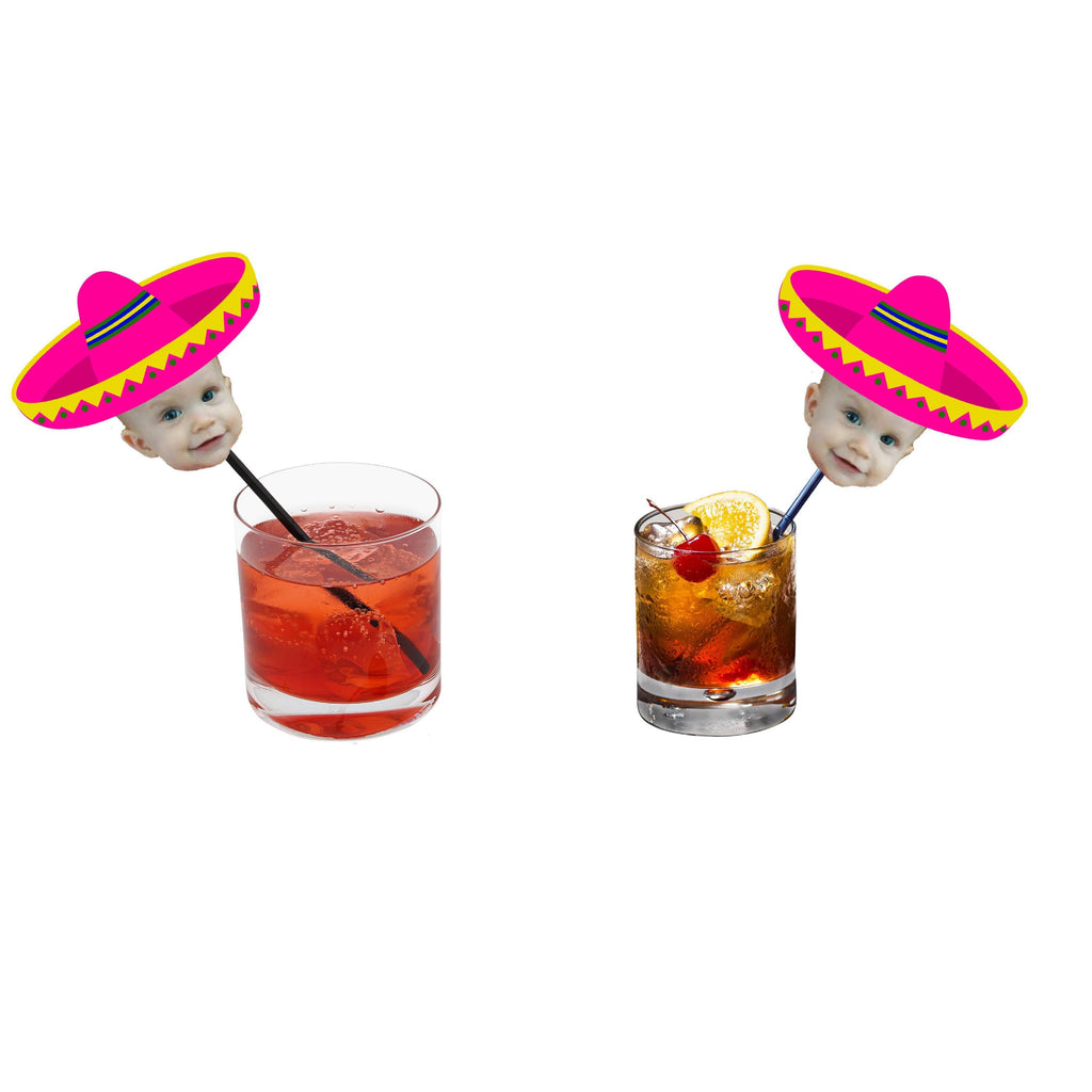 Pink FIesta drink stirrers with face and sombrero