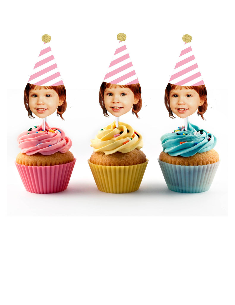 Pink and White Birthday Cupcake Toppers with Face and Birthday Hat - Party Decorations, 50th, 60th, 40th, 30th Bday, 1st, 3rd, Retirement