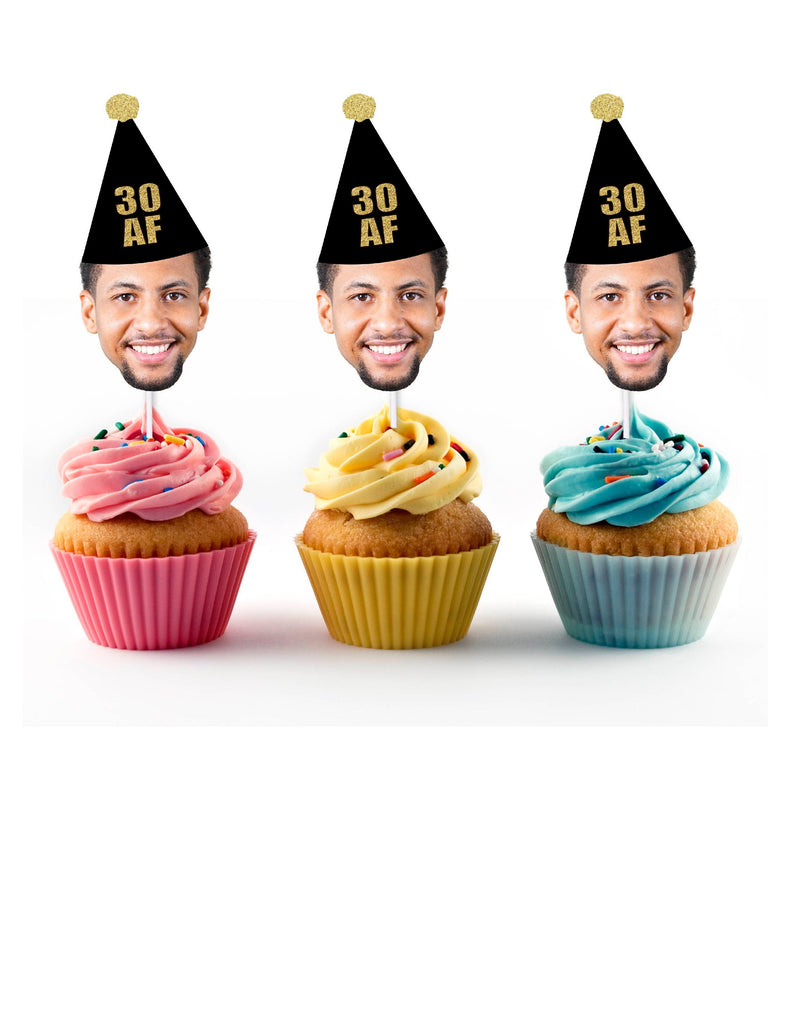 30 AF Cupcake Toppers with Face and Birthday Hat, Thirtieth, 30, Thirty, Custom, Personalized, Dirty Thirty, Black,THIRTY AF