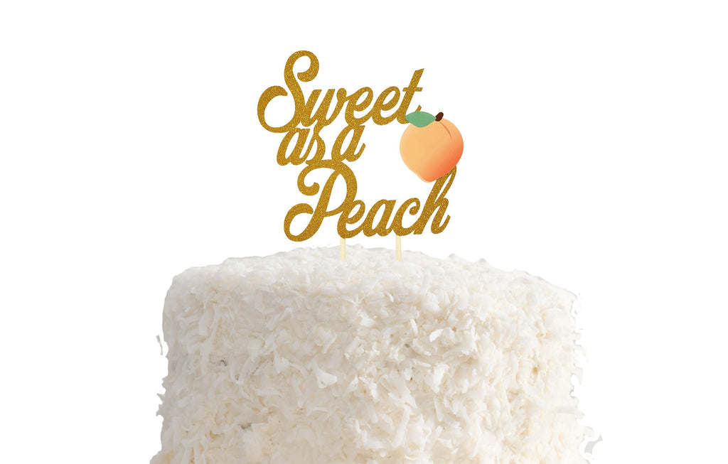 Sweet as a Peach Cake Topper, Gold Glitter, Georgia Peach Party Decorations, Peach Cake, 1st Birthday, Bday Party, Peachy