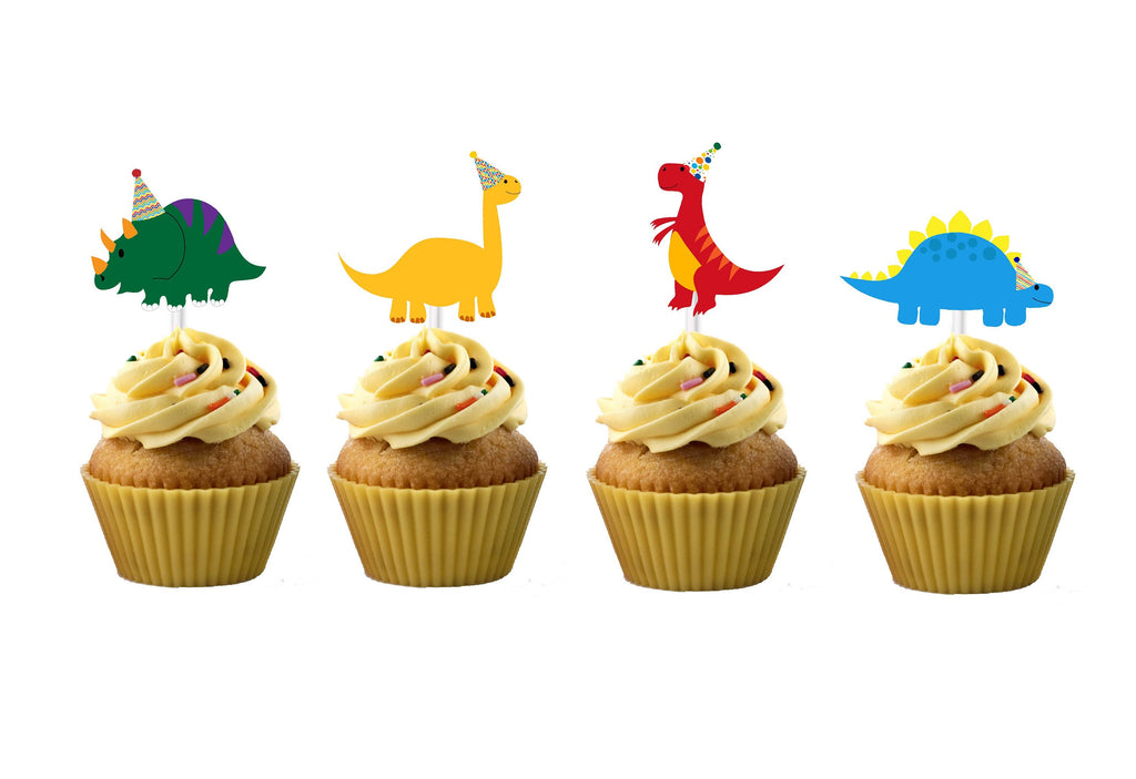 Dinosaurs in Party Hats Cupcake Toppers (12 count) for Birthday Party, RAWR, TREX, Dino Cupcakes, Brontasaurus, Birthday Hats, ROAR, Decor