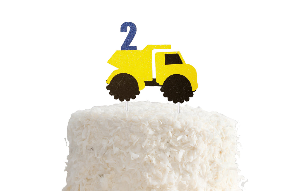 Construction Cake Topper - Any Age - Dump truck, Digger, Yellow, Black, Builder