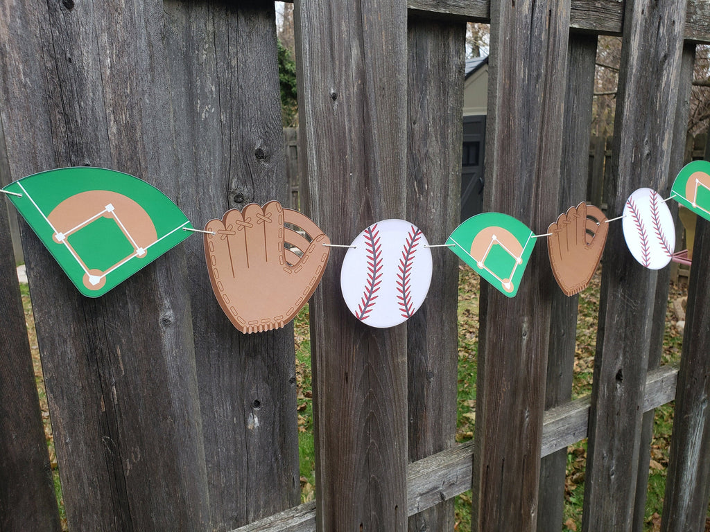 Baseball Banner - Pre-Strung, Baseball Birthday, Mitt, Glove, Diamond, Garland, 1st Bday, Team, End of Season, Customized, 2nd, 3rd