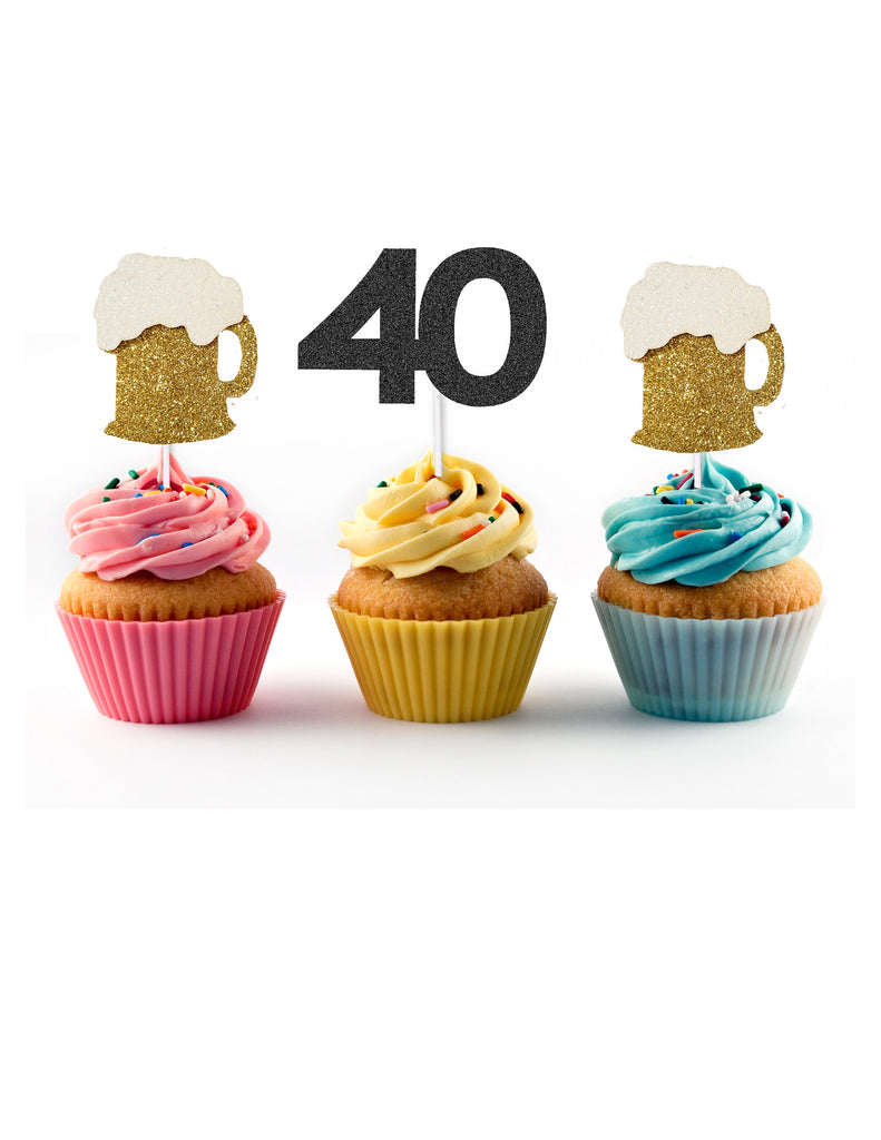 Cheers and Beers to 40 Years Cupcake Toppers (12 count) for 40th birthday party, Forty and Fabulous, Talk 40 to Me, Cake Picks, Funny