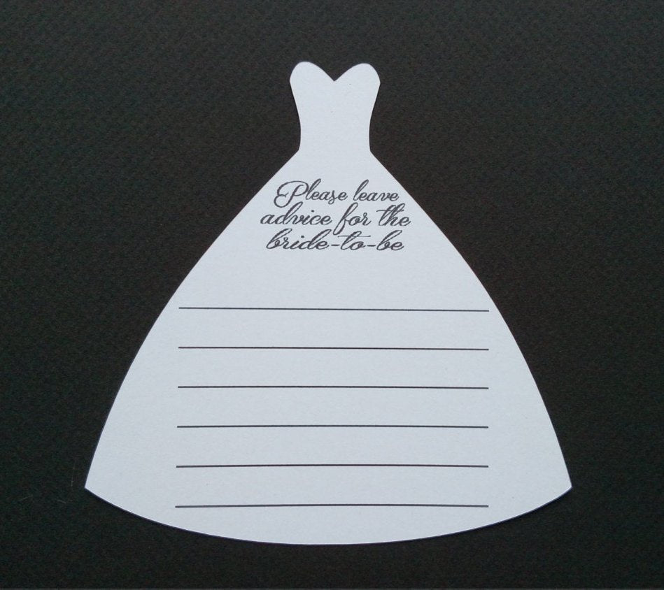 Wedding dress advice cards