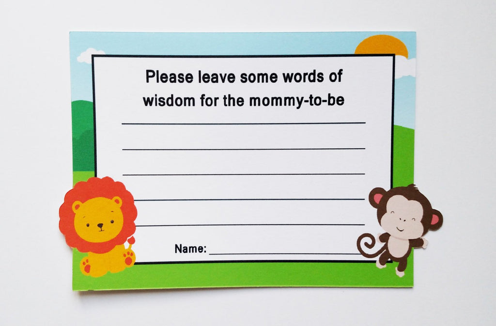 mom to be advice cards animals
