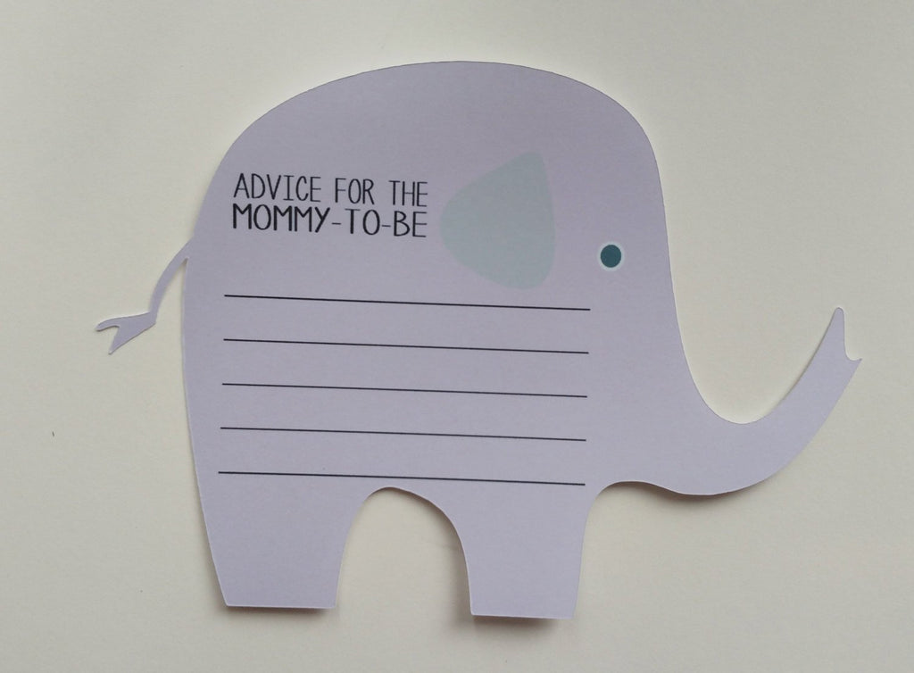Elephant baby shower advice cards