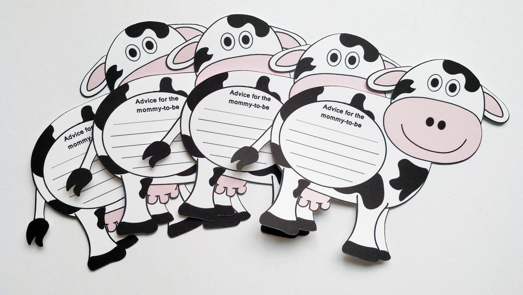 Farm animal theme baby shower advice cards