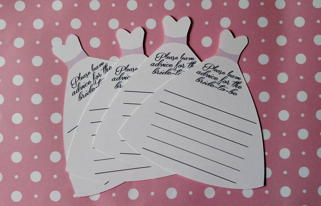 White wedding dress bride to be advice cards