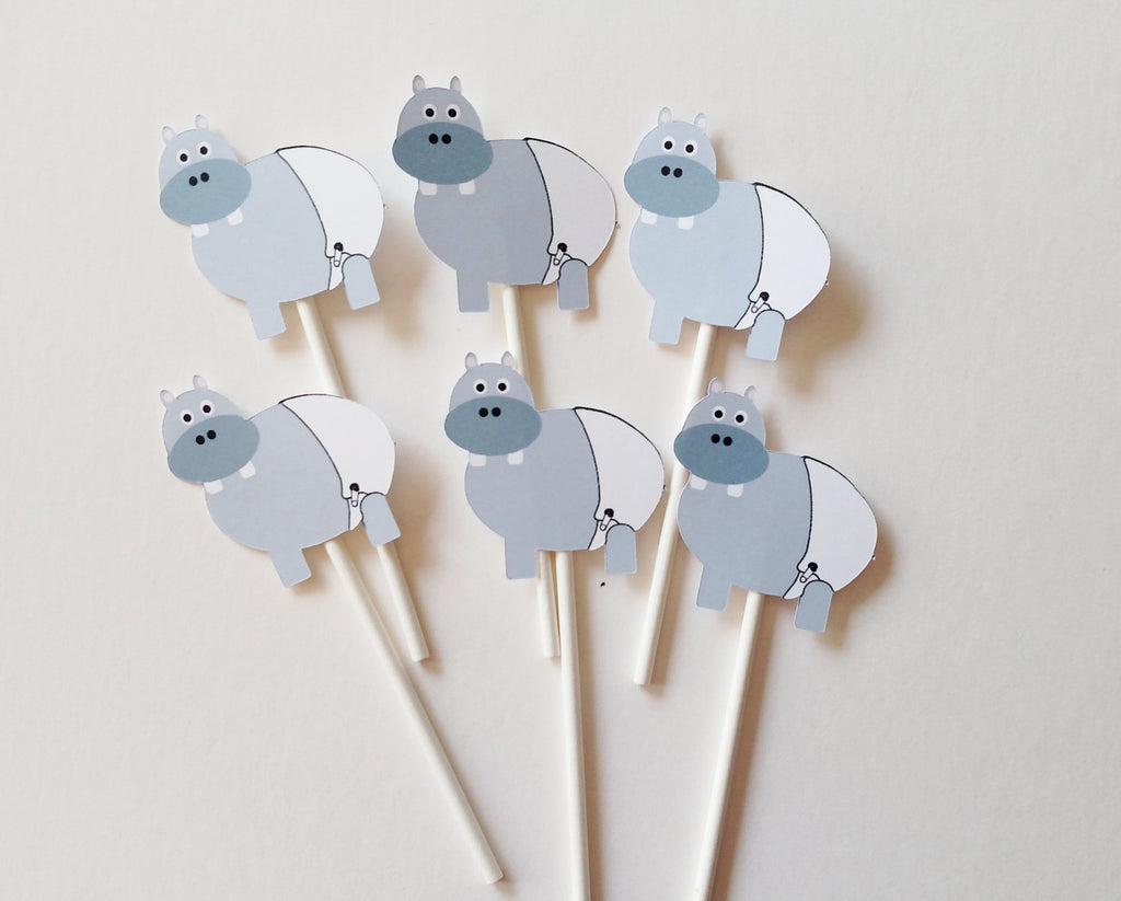 Baby Hippo Cupcake Toppers