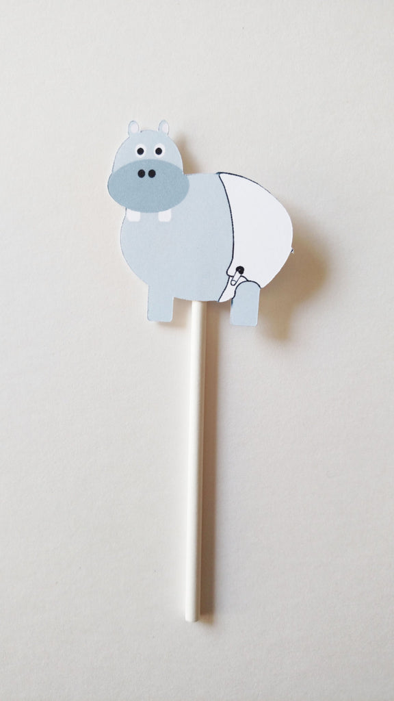 hippo cupcake toppers