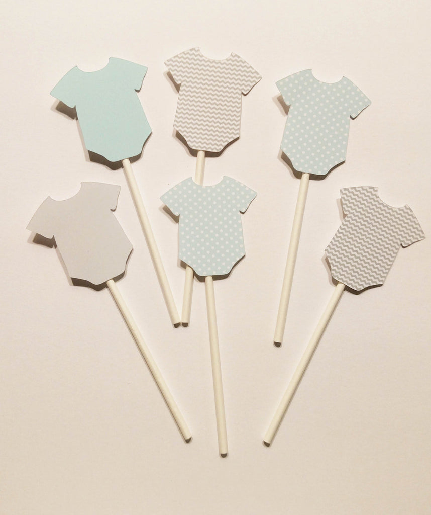 Baby Boy Bodysuit Cupcake Toppers