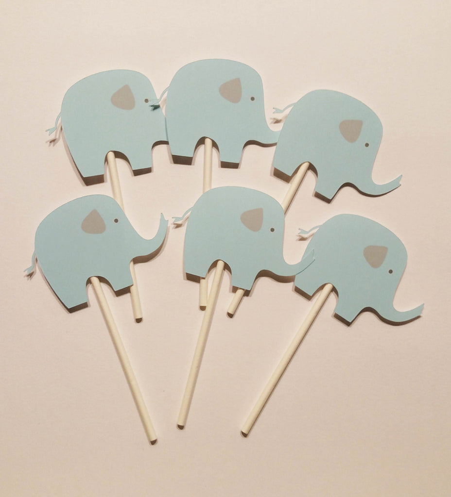 Blue and Gray Elephant Cupcake Toppers