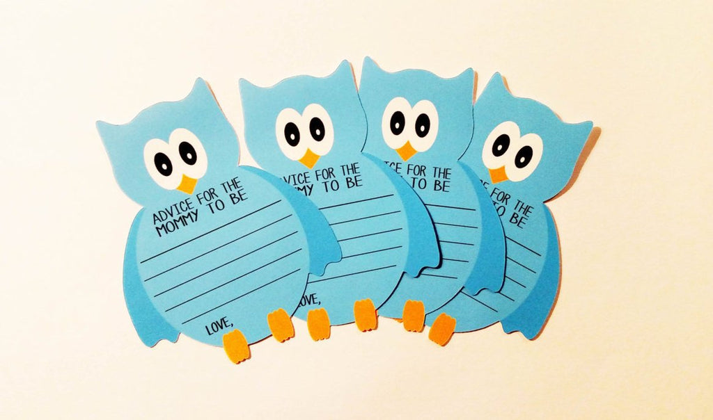 Owl advice cards blue baby shower