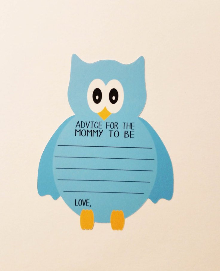 Owl blue boy advice cards