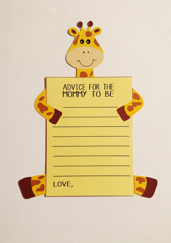 Giraffe mom to be advice cards