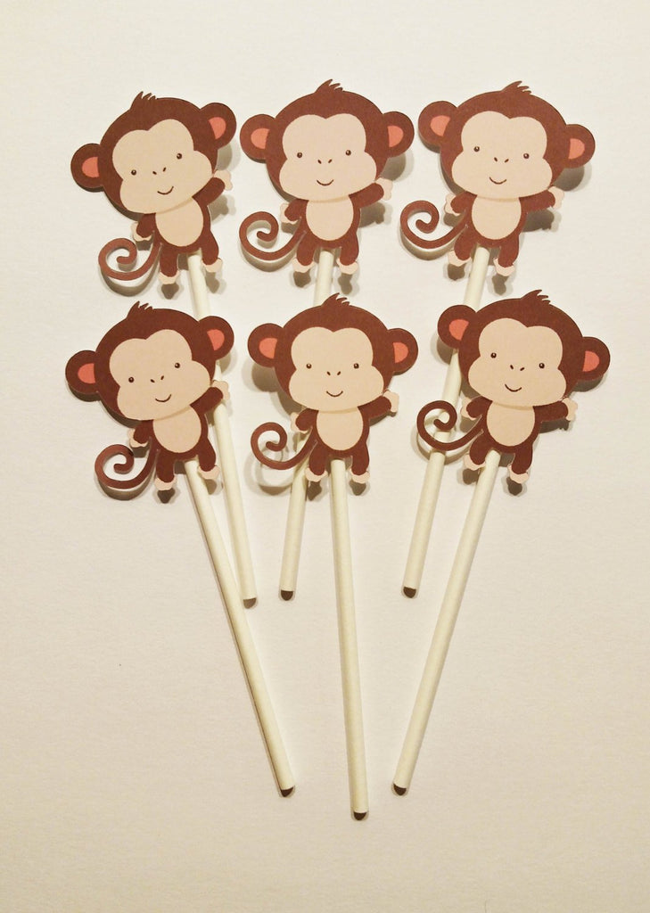 Monkey baby Cupcake Toppers (12 ct)