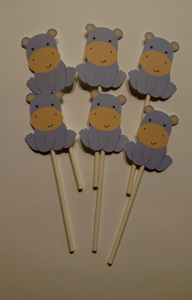 Hippo Cupcake Toppers for Baby Shower or Birthday Party (12 count)
