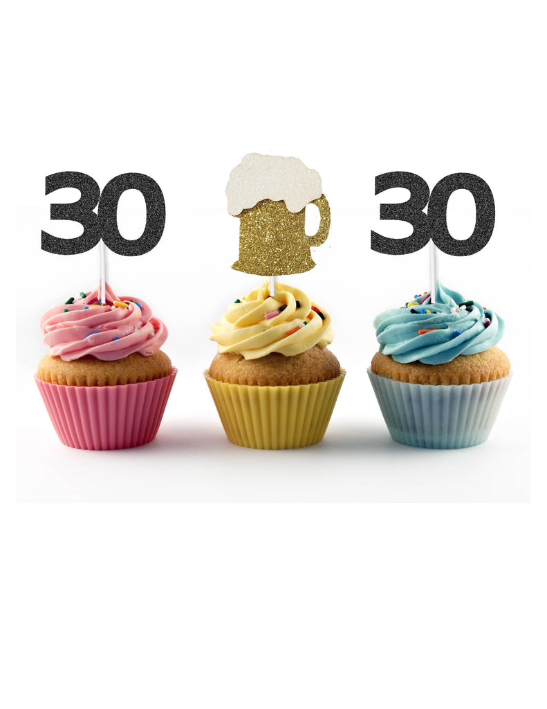 30th birthday cupcake toppers - Cheers and beers to 30 years