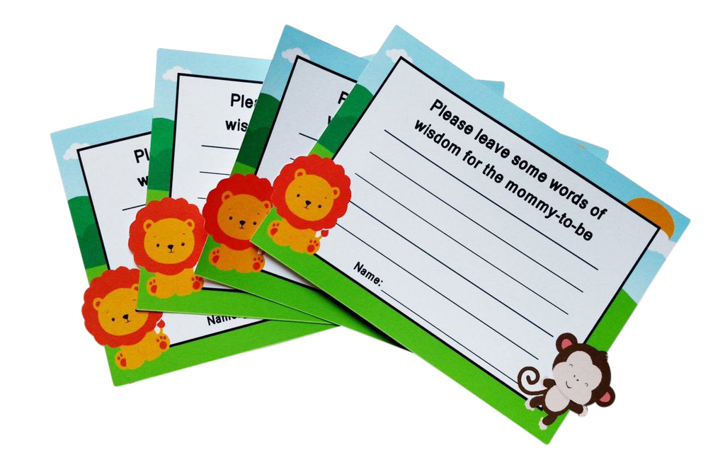 Jungle theme advice cards mom to be