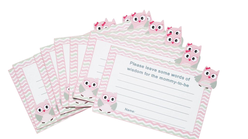 Baby girl owl baby shower cards