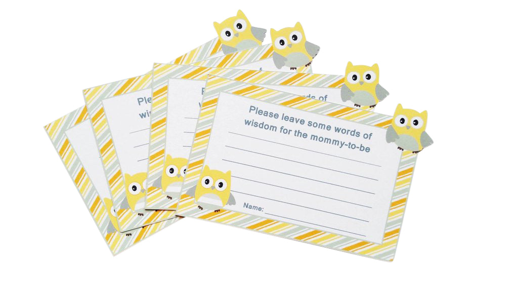yellow and gray owl advice cards
